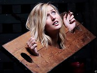 A blonde girl put herself in the wooden stocks.