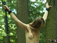 Sexy eighteen year old teen girl grabbed and tied up in the woods to be fucked and dominated